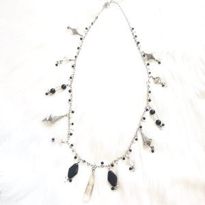 Silver Necklace with Boho Black Glass Beads
